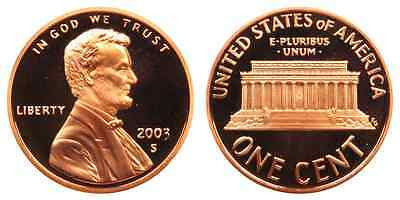 2003-S Proof Lincoln Memorial Cent Penny Deep Cameo , FREE SHIPPING!