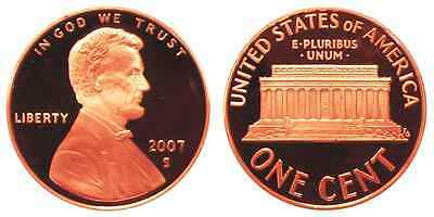 2007-S Proof Lincoln Memorial Cent Penny Deep Cameo , FREE SHIPPING!