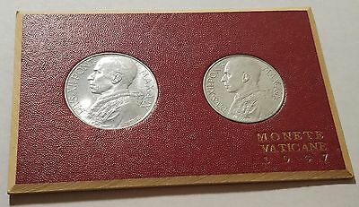 1947 Vatican 10 and 5 Lire Two Coin Set Pope Pius X11