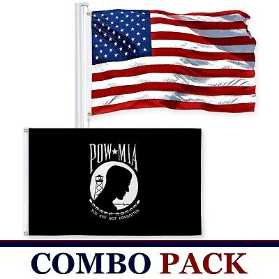 Wholesale LOT | USA 3x5ft SINGLE Embroidered & POW 3x5ft DOUBLE SIDED Emb Flag