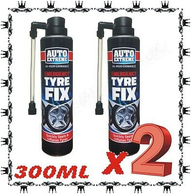2 x INSTANT QUICK TYRE FIX SEALS INFLATE REPAIR FOAM SEALS INFLATE 300ML
