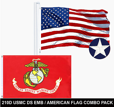 Wholesale LOT | USA 3x5 ft SINGLE Embroidered & USMC 3x5ft DOUBLE SIDED Emb Flag