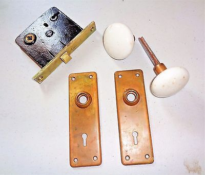 Antique Vintage Set Porcelain Door Knobs Mortise Lock and Brass Backplates