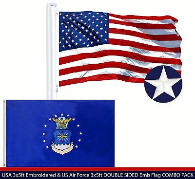 Wholesale LOT | USA 3x5ft Embroidered & US Air Force 3x5ft DOUBLE SIDED Emb Flag