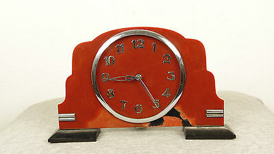 Vintage Antique 1940 Germany Drgm Red Amber Bakelite & Black Catalin Desk Clock