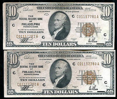 (2) Consecutive Fr. 1860-C 1929 $10 Frbn Federal Reserve Bank Notes
