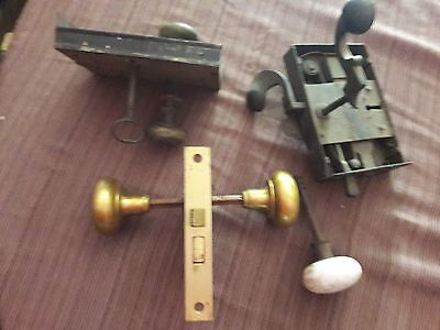 Lot of Antique Hardware  ~ Vintage Door Knobs~ Locks ~Latch Skeleton Key