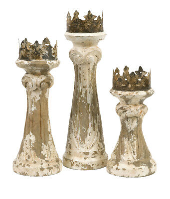 Imax 84336-3 Feliciano Antique Hand Carved Wood Candle Holders Set of 3