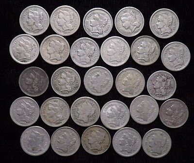 Lot of 27 Mixed Date Three Cent Nickels  Circulated