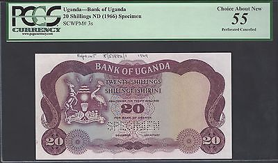 Uganda 20 Shillings ND(1966) P3s Specimen About Uncirculated