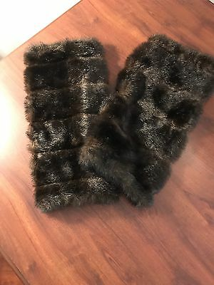 Faux Fur Leg Warmers Leggings Boot Covers  Black Brown New W/O Tags