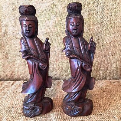 "Pair of Wooden Princess Statues; 12"" Tall Nice Set. Asian Teak Vintage"