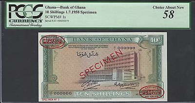 Ghana 10 Shillings 1-7-1958 P1as Specimen About Uncirculated