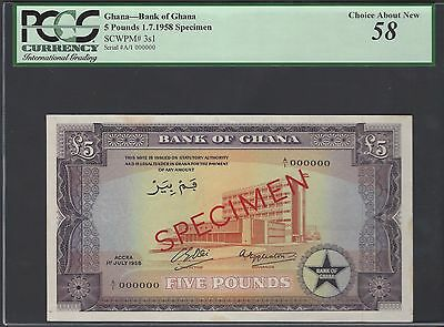 Ghana 5 Pounds 1-7-1958 P3s1 Specimen About Uncirculated