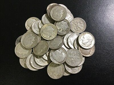 Lot Of (10) US Roosevelt Dimes 90% Silver Coins Pre-1965 $1 Face  .715 Troy OZ.