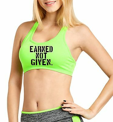 f251b38ce5f46 Women s Petite Earned Not Given Cross Back Fitted Workout Green Sports Bra  V183