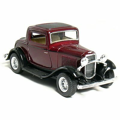 """New 5"""" Kinsmart 1932 Ford 3-Window Coupe Diecast Model Toy Car 1:34 - Maroon"""
