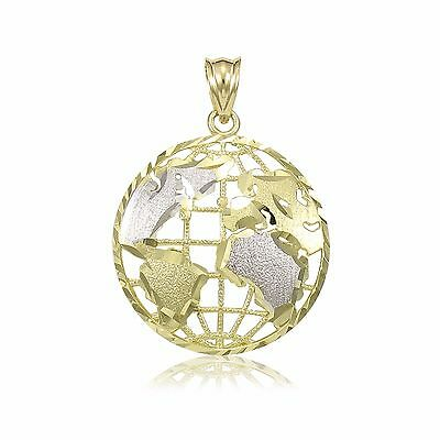 14K Solid Yellow White Gold Globe Pendant -World Map Planet Earth Necklace Charm