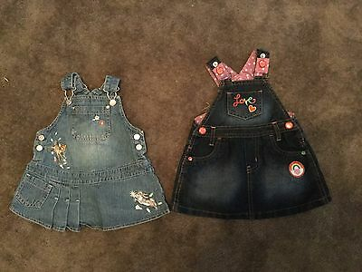 #98 -  2 x Denim Pinafores for baby girl 3-6 months