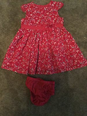 #97 -  Patterned red dress & knicker set for baby girl 0-3 months