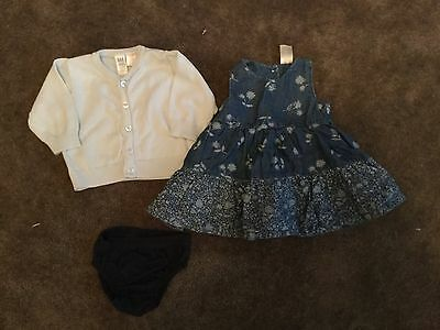 #91  Blue dress with knickers and blue GAP cardigan for baby girl 0-3 months