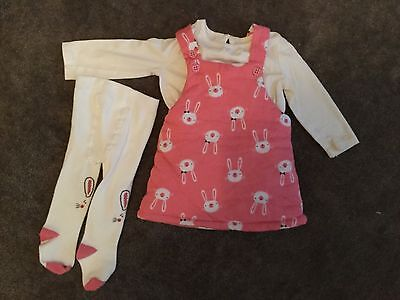 #93 Pink pinafore dress with long sleeve top and tights for baby girl 0-3 months