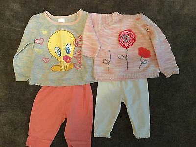 #87 2 x Tops & Joggers  for baby girl 0-3 months