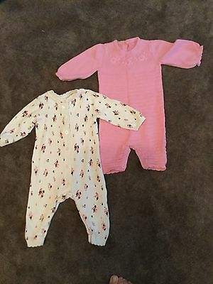 #83  2 x knitted all-in-ones  for baby girl 0-3 months
