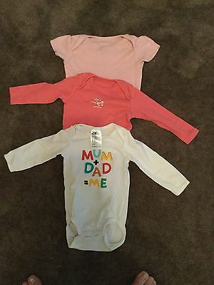 #105 - 3 x Vests for baby girl 3-6 months
