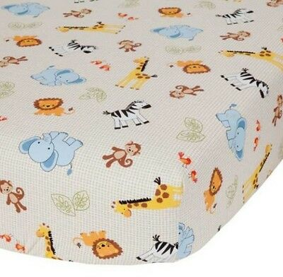Crib Sheet Jungle Buddies Baby Infant Toddler Standard Fitted Soft Monkeys Lions