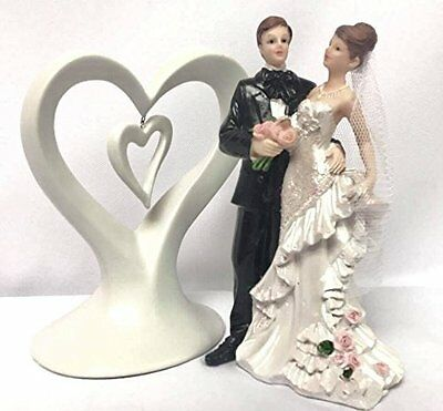 Wedding Cake Topper Bride and Groom White Heart Centerpiece Decoration