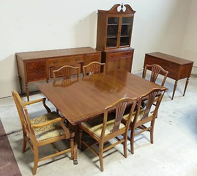 Antique Dining Room Set - Buffet - Server - China Cabinet - Table - Sheraton