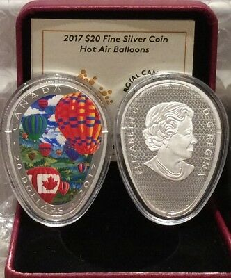 2017 Hot Air Balloons $20 Balloon-Egg-Shaped 1OZ Pure Silver Proof Coin Canada