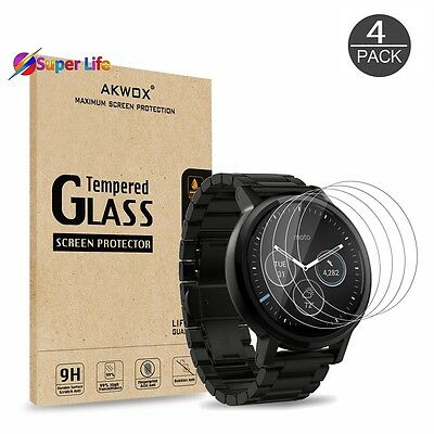 4 Pack Moto 360 1st 2nd Gen Tempered Glass Screen Protector 46mm Protective Film