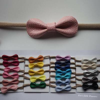 Headband Faux Leather Bow Baby Newborn Toddler Girl Nylon Hair Accessories