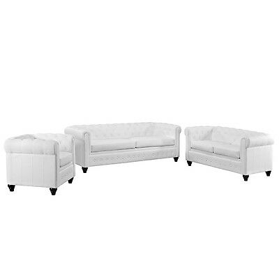 Earl 3 Piece Upholstered Vinyl Living Room Set, White