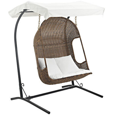 Vantage Outdoor Patio Swing Chair, Brown White