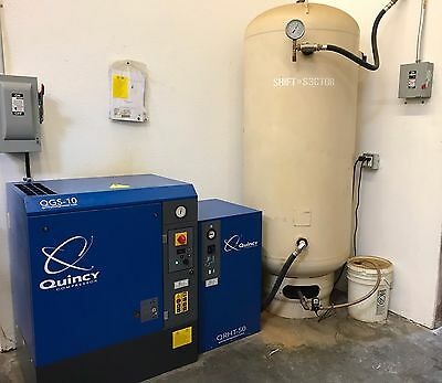 Quincy 10hp complete air system QGS-10 rotary w/ QRHT-50 & 200 gal tank
