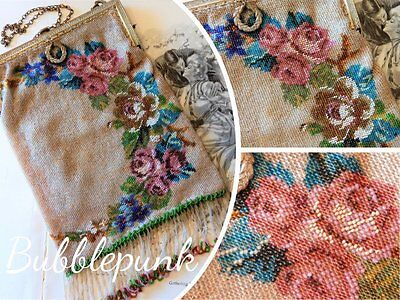 Superb Antique Micro Beading Glass Bead Floral Frame Fringe Purse