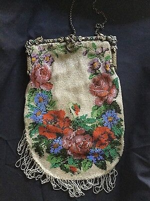 Antique MICRO Beaded Handbag Purse JEWELED FRAME SCENIC FLOWERS