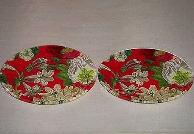 2 Michel Design Works White Christmas Glass Oval Soap Dish White Red FLoral  EUC