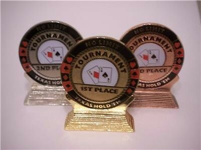 3 PC Poker Tournament Trophy Set with Stands 1st 2nd 3rd Place Card Guards NEW