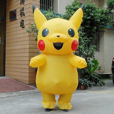 Adult Child Mascot Pikachu Inflatable Costume Cosplay Halloween Funny Dress