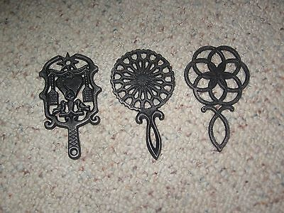 Vintage Wilton Cast Iron 3 Trivet Lot Hearts & Birds Lqqk