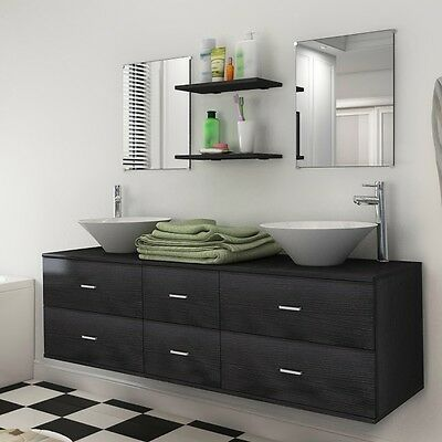 9 Piece Wall-mounted Bathroom Furniture Set with Basin/Tap/Mirror/Cabinet/Shelf