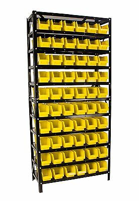 Erie Tools® 60 Bin Parts Rack Storage Shop Garage Organizer Nuts Bolts Parts
