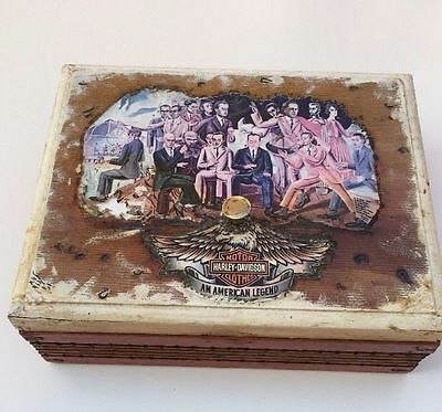 Harley Davidson Vintage Wood Wooden Storage Jewelry Box Rustic Primitive collect
