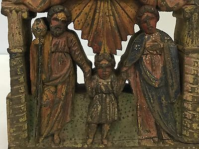 19th Century Mexican Religious Santos Carving Of Joseph Mary & Jesus As A Child
