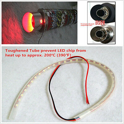Motorcycle Exhaust Tailpipe Red Flame Heated LED Light Strip Modification Firing
