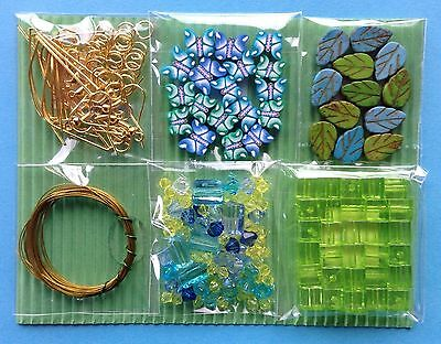 Jewellery Making Kit 6 Bags Craft Bead Findings Green Blue - Aussie Seller!!!